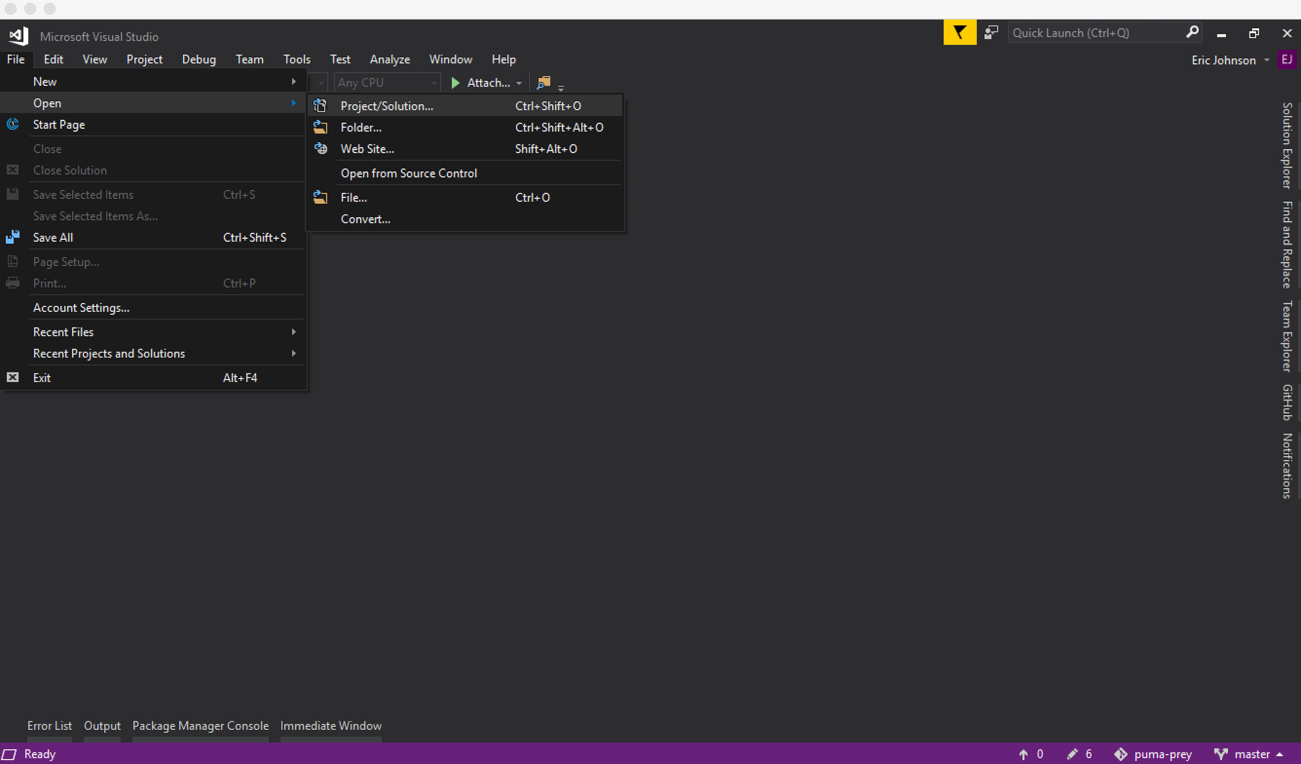 Open your project in Visual Studio